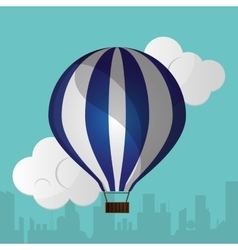 Blue and white airballoon silhouette urban vector