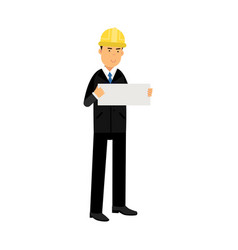 businessman in a black suit and hard hat showing vector image