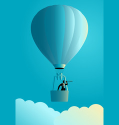 businessman on air balloon using telescope vector image