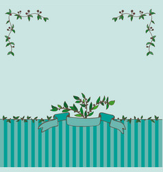 card with ribbon and branches vector image