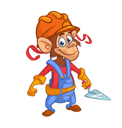 cartoon construction worker monkey vector image