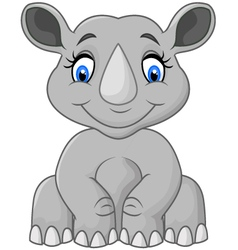 Cartoon cute rhino sitting vector