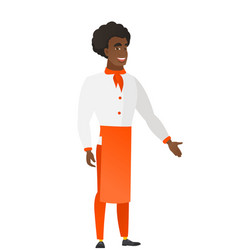 Chef cook with arm out in a welcoming gesture vector