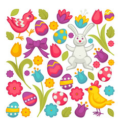 chicken and bunny eggs and tulips easter religious vector image