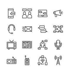 communication device icon set vector image