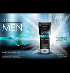 Cooling men face wash with water splashing vector