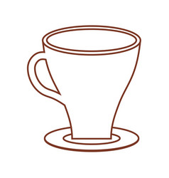 Cup coffee plate thin line vector