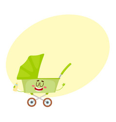 Cute and funny baby cart stroller buggy vector