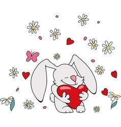 Cute bunny with heart vector image