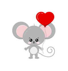 Cute mouse with heart shape balloon in paw vector
