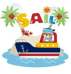 cute sailor cartoon on the boat vector image
