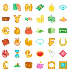 dollar icons set cartoon style vector image