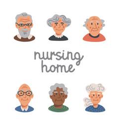 elderly people avatar set portraits old people vector image