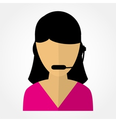 employee call center girl with headphones vector image