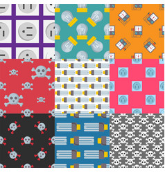 Energy electricity power seamless pattern battery vector