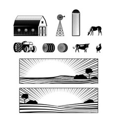 Farming and countryside set with farmland vector
