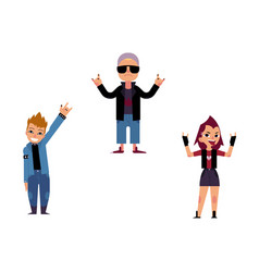 Flat elderly young rock women man set vector