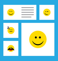 Flat icon emoji set of cheerful smile asleep and vector
