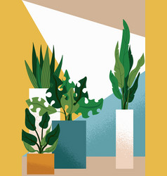 Flat modern interior garden vector