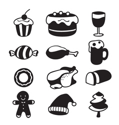 Food And Drink Icons Set Monochrome vector image