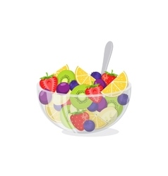 Fruit salad in glass bowl vector image