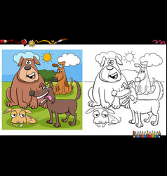 funny dog characters group coloring book page vector image