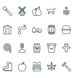 gardening icons set with windmill gardener tool vector image