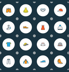 garment icons colored line set with gown pants vector image