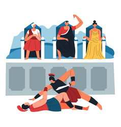 gladiator fight and voting roman performance vector image