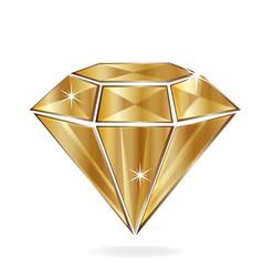 Gold diamond isolated vector