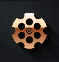 Gold revolver cylinder icon isolated on black vector