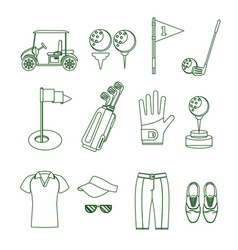 golf equipment thin line set vector image
