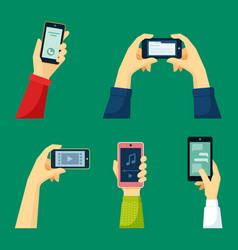 Hand holds smartphone set watching video content vector