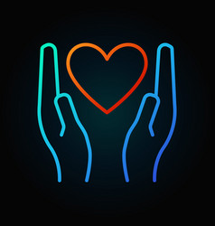 heart in hands colored linear icon or sign vector image