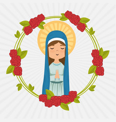 holy miracle virgin religious card vector image