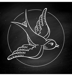 Icon bird for tattoo isolated on black chalkboard vector