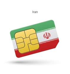 Iran mobile phone sim card with flag vector image