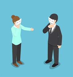 Isometric business people covering their face with vector image
