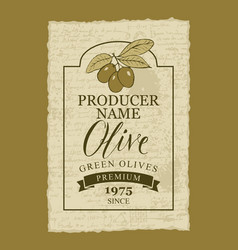 Label for green olives with an olive sprig vector