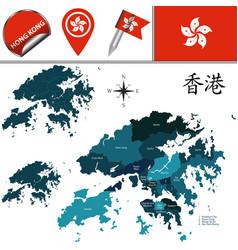 Map hong kong with districts vector