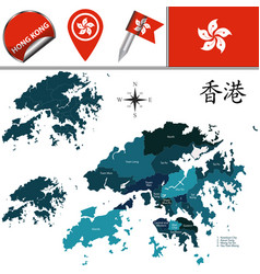 map of hong kong with districts vector image
