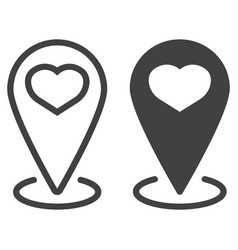 map pointer with heart line and glyph icon vector image
