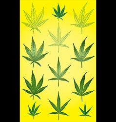 Marijuana cannabis leaf silhouette symbol stamps vector