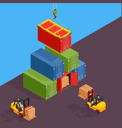 Marine cargo port unloading of sea cargo vector