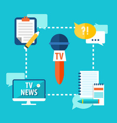 Mass media broadcasting tv news vector