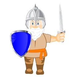 Medieval warrior with weapon vector