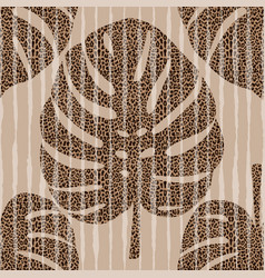 monstera leaves with leopard background seamless vector image