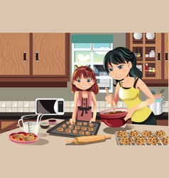 mother daughter baking cookies vector image