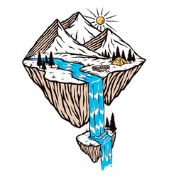 mountain and waterfall vector image