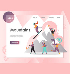 mountains website landing page design vector image